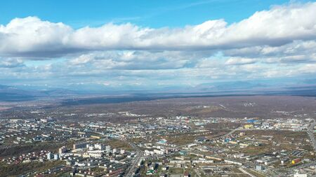 Aerial view of the urban landscape of Petropavlovsk-Kamchatsky, Russia. 写真素材 - 132325374