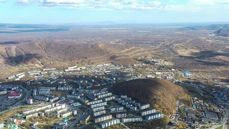 Aerial view of the urban landscape of Petropavlovsk-Kamchatsky, Russia. 写真素材 - 133344523