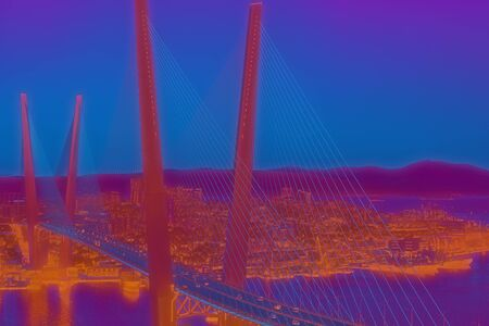 Vladivostok, Russia. Abstract cityscape landscape with Golden bridge view. 写真素材 - 132456655