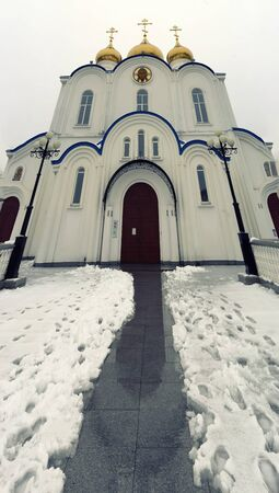 Vertical panorama of the Cathedral in Petropavlovsk-Kamchatsky, Russia. 写真素材 - 132737902
