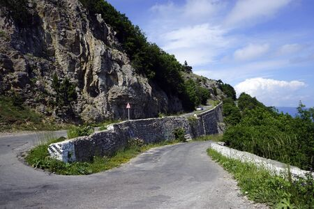 Mountain landscape. Serpentine road to mount AI-Petri, Crimea. 写真素材 - 132739696
