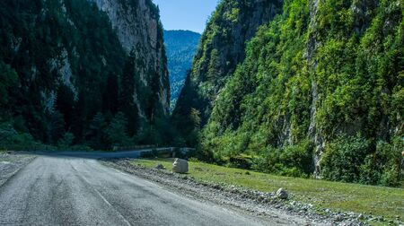Mountain landscape overlooking the road to the gorge. Abkhazia