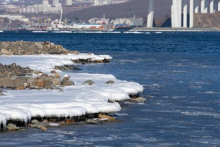 Seascape with coastline in ice and snow 写真素材 - 132756979