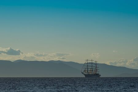 Vintage white sailboat on the background of the seascape. Vladivostok, Russia 写真素材 - 132760876