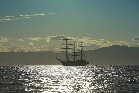 Vintage white sailboat on the background of the seascape. Vladivostok, Russia 写真素材 - 133345317