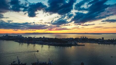 Vladivostok, Russia. Aerial view of the cityscape at sunset. 写真素材 - 132762959