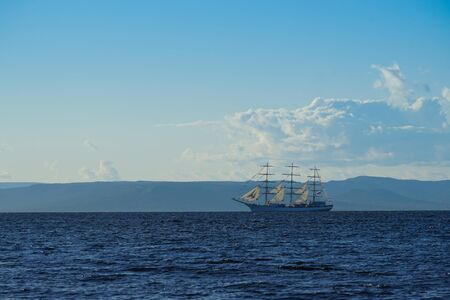 Vintage white sailboat on the background of the seascape. Vladivostok, Russia