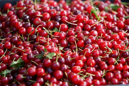 Natural background with red cherry fruits 写真素材 - 133345322