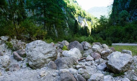 Mountain landscape with big stones on the road, Abkhazia