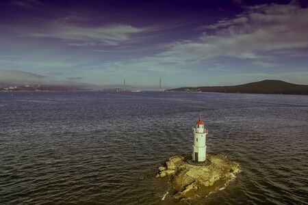 Aerial view of the seascape with a beautiful lighthouse. Vladivostok, Russia 写真素材