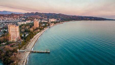 Aerial survey of the coastline of the urban landscape. Sukhumi, Abkhazia