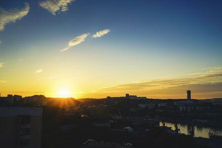Cityscape, dawn over Vladivostok, Russia.