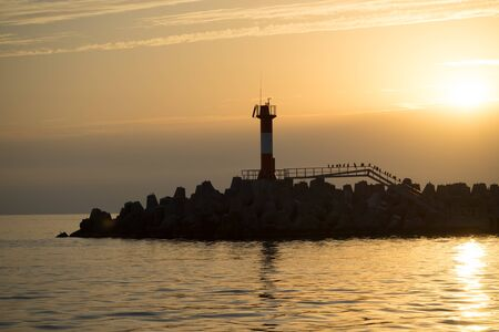 Sochi, Russia. Silhouette of the coastline against the sunset. 写真素材