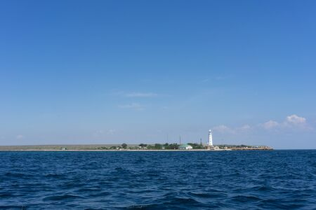 Marine landscape with views of the coastline of the Tarkhankut Cape. Crimea, Olenevka 写真素材
