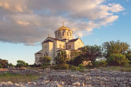 Sevastopol, Crimea-June 7, 2016: Vladimir Cathedral in Chersonesos - the Orthodox Church of the Moscow Patriarchate on the territory of Tauric Chersonesos