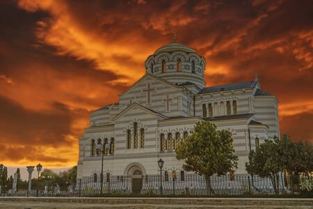 Vladimir Cathedral in Chersonesos - the Orthodox Church of the Moscow Patriarchate on the territory of Tauric Chersonesos. Sevastopol, Crimea