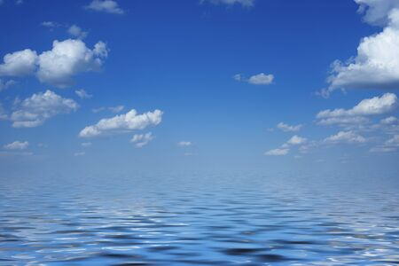 Background with seascape under blue sky with clouds