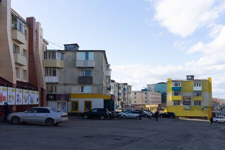Petropavlovsk-Kamchatsky, Russia-October 8, 2019: Urban landscape with street and road. Buildings and architecture in the seismic zone.