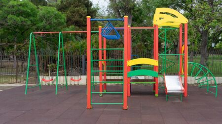 Colorful children's playgrounds in a public Park. Sudak, Crimea Zdjęcie Seryjne