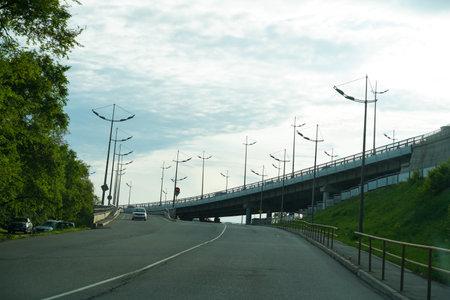 Vladivostok, Russia-June 6, 2020: Urban landscape with views of the road and transport. Redakční