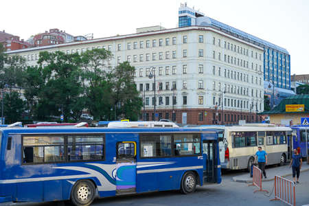 Vladivostok, Russia-June 12, 2020: Urban landscape with views of the road and transport.