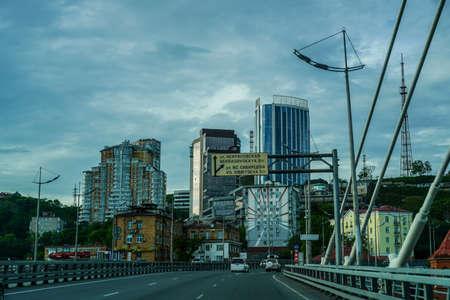 Vladivostok, Russia-June 6, 2020: Driving on the Golden bridge.