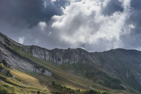 mountain landscape with large white clouds in Sochi 写真素材