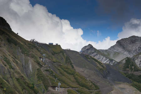 cable car on the background of the harsh mountain landscape at a height of 写真素材