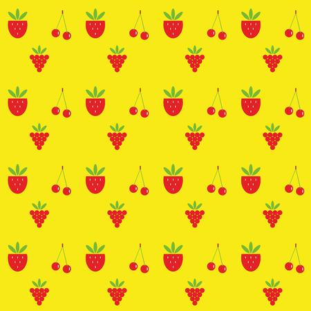 raspberries: pattern raspberries strawberries cherries on a yellow background