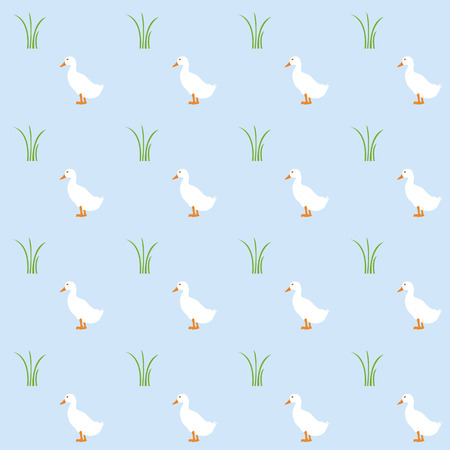 waterfowl: duck and grass pattern on blue background Illustration
