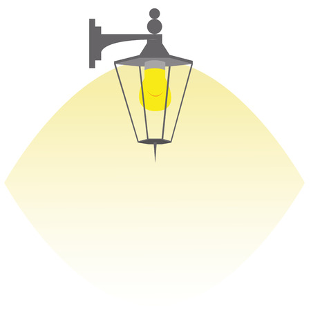 sconce: lantern shines yellow light vector illustration