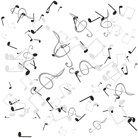 notes and musical keys on a white background