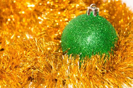 the tinsel: festive Christmas ball and tinsel