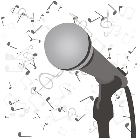 gamma tone: microphone is in gray colors, vector illustration