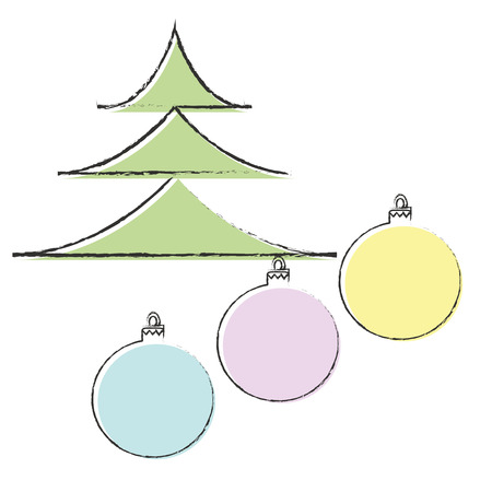 christmas balls: Christmas tree and balls decoration Illustration