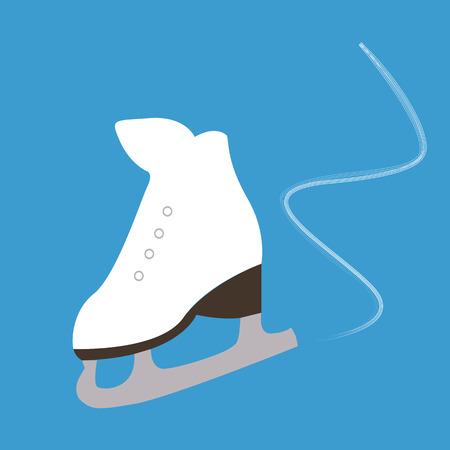 blades: white skates with blades on ice