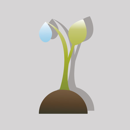 agronomy: sprout plants with a water drop of dew Illustration