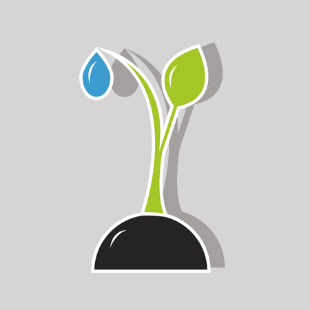 dew: sprout plants with a water drop of dew Illustration