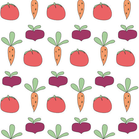 beets: pattern vegetables beets carrots and tomatoes Illustration