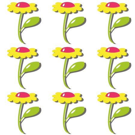 flor caricatura: Flor de la historieta del color de la margarita con el pétalo Vectores