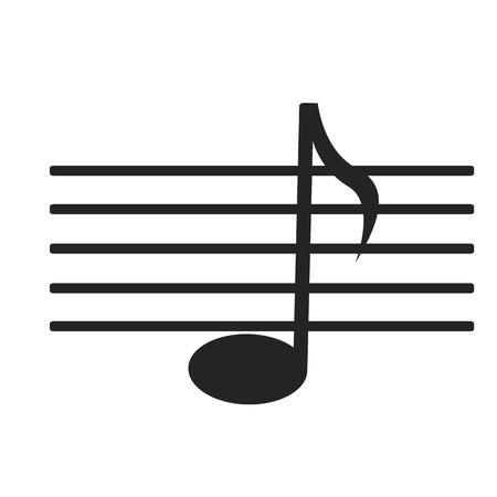 gamma tone: sign black music note on white background Illustration