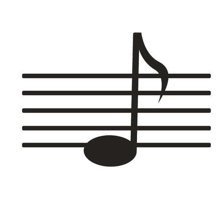 re: sign black music note on white background Illustration
