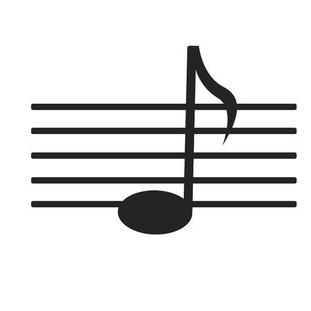 re do: sign black music note on white background Illustration