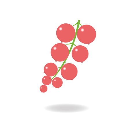 currant: ripe currant berries on a green branch Illustration