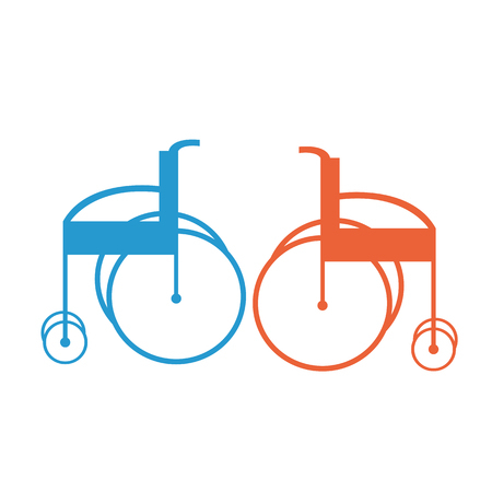 Creative design of a colorful sketch of invalid armchair or wheelchair Illustration
