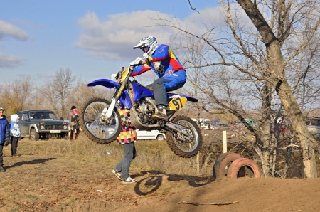 mx: RUSSIA, SAMARA � NOVEMBER 5: The start of the departure racer V. Sorokin on a motorcycle from the hill on track MX the Regional Motocross Championship on November 5, 2011 in Samara, Russia
