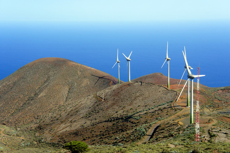 Windmills of the El Hierro Island.Canary. Stock Photo