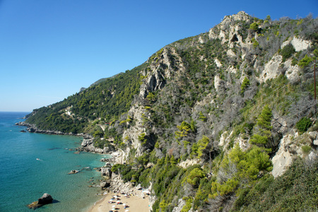 Mirtiotissa nudist beach.One of the cleanest beaches in Corfu. Stock Photo
