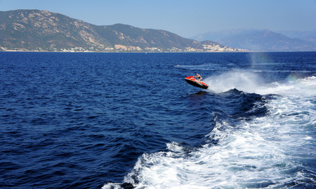 Water motorcycle off the coast of Corsica.