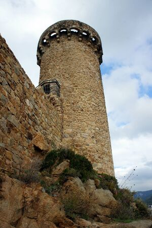 Spain.Tossa de Mar.One of the well-preserved towers of the fortress.